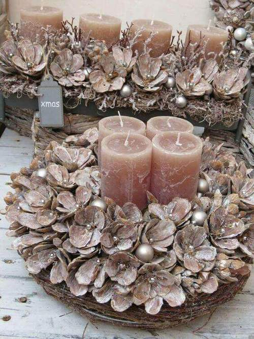 velas de natal - velas com flores de natal