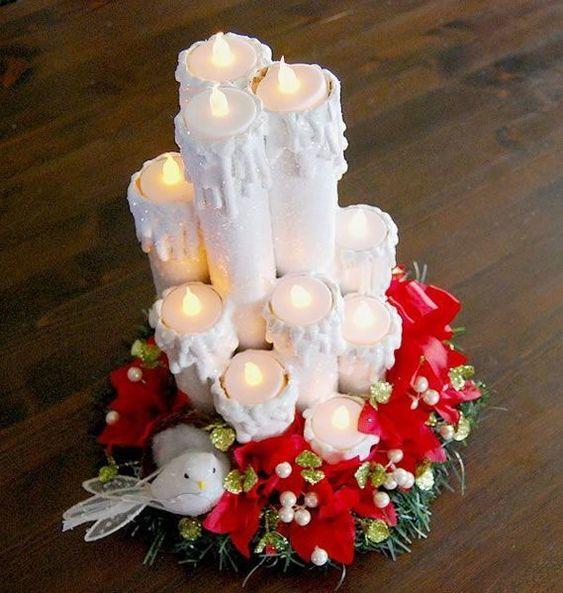 velas de natal - velas de natal com rolos de papel