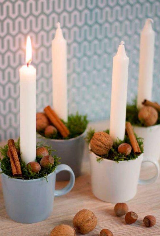 velas de natal - xícaras com velas