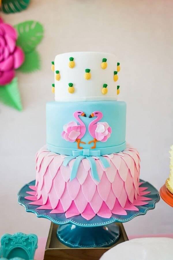 Flamingo fake cake on three floors
