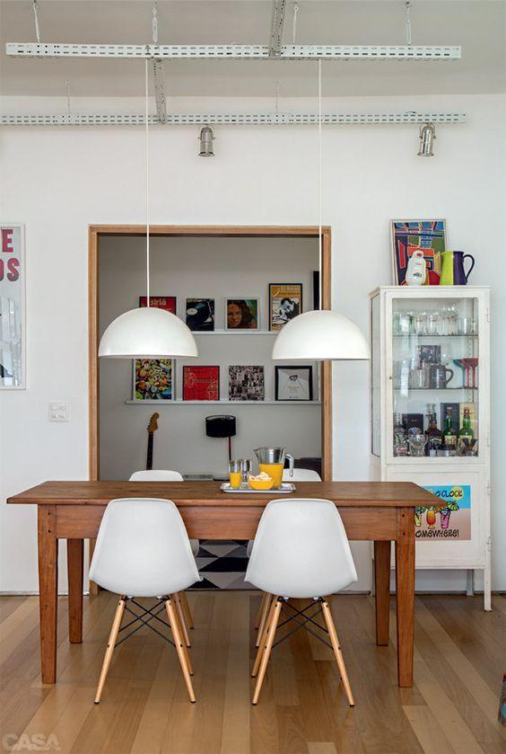 Cadeira eames branca para sala de jantar rustica