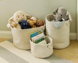 Cesto organizador para quarto infantil. Fonte: Pinterest