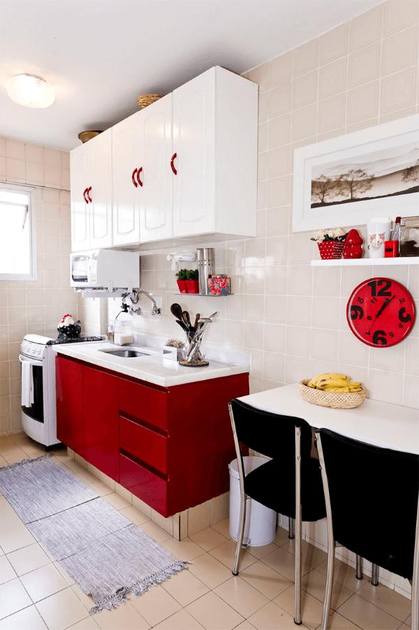 cozinha na cor vermelha e branca