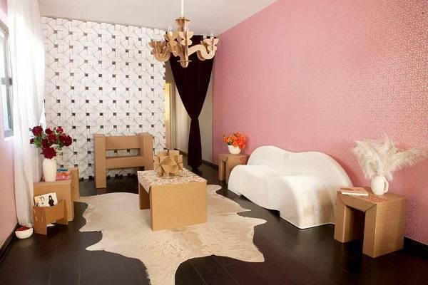 Decore a casa com móveis de papelão