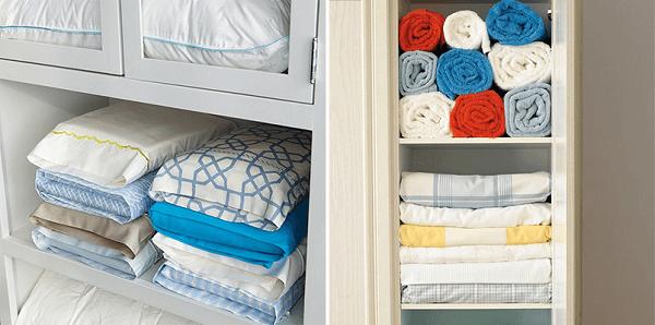 Procure guardar a roupa de cama recém passada abaixo das outras