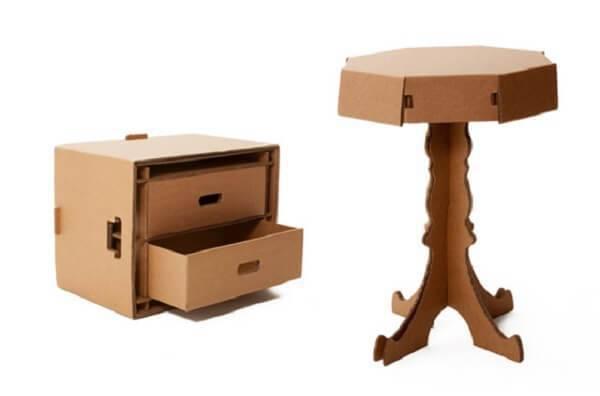 Móveis de papelão transmitem beleza e descontração ao espaço