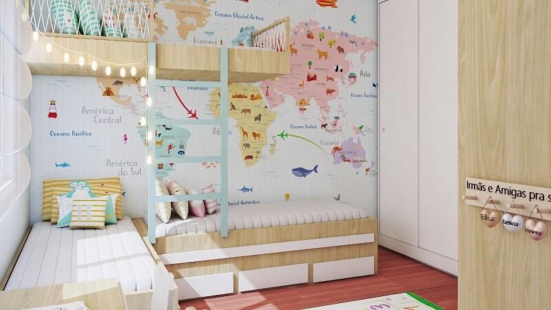 Papel de parede para quarto infantil de mapa mundi. Fonte: Mia Design Infantil