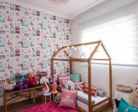 Papel de parede para quarto infantil. Fonte: KZ arquitetura e interiores