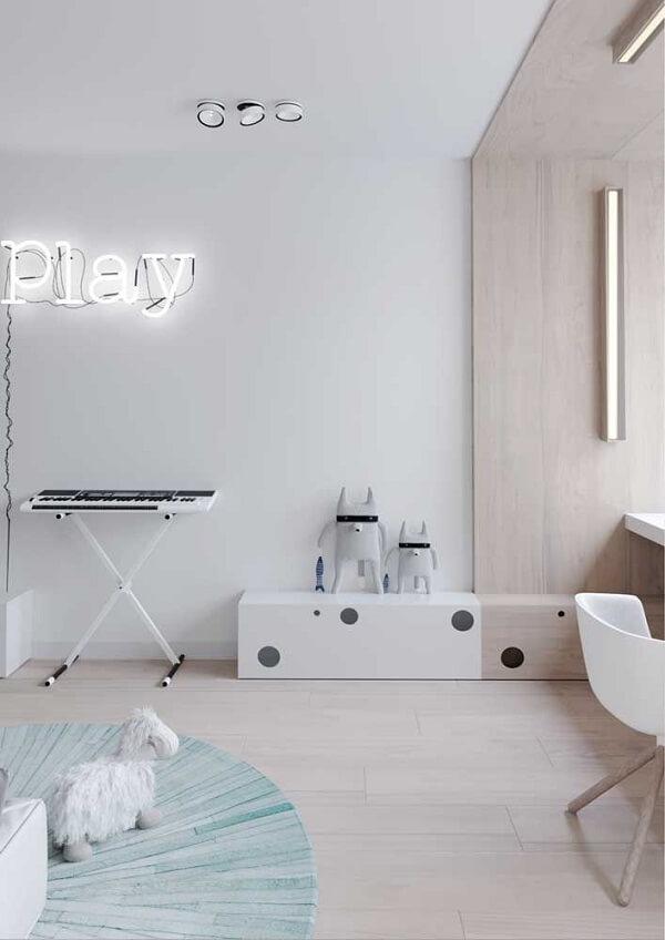 Piso flutuante branco para quarto infantil