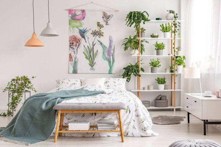Posicione as plantas para quarto de casal próximo a cama. Fonte Pinterest