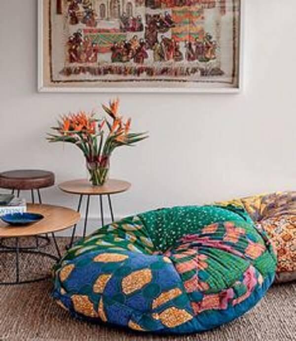 Puff gigante feito com a técnica de patchwork