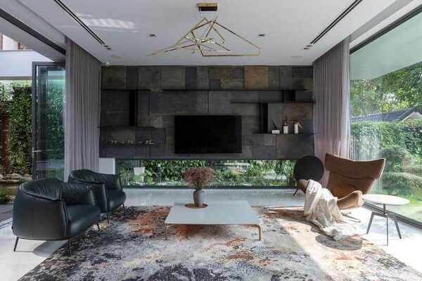 Poltronas para sala de tv com tecido de couro