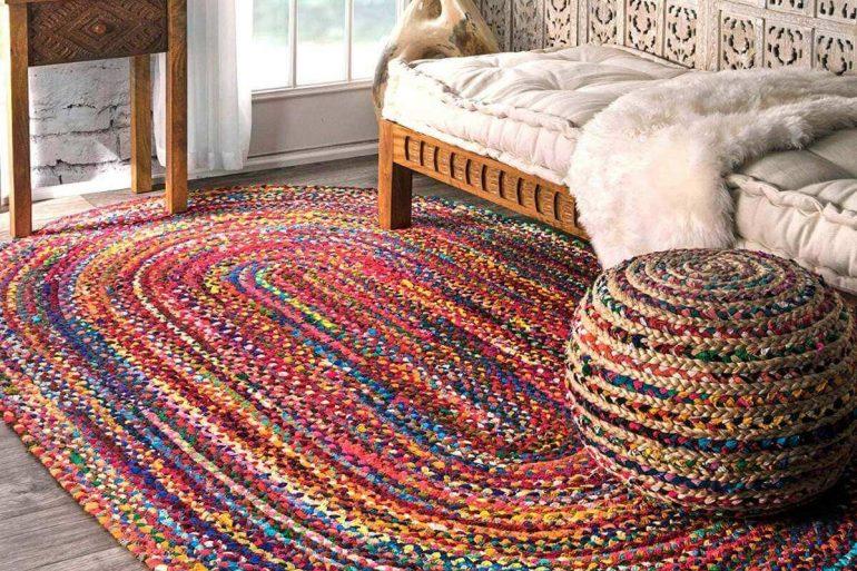 Tapete de crochê oval grande colorido