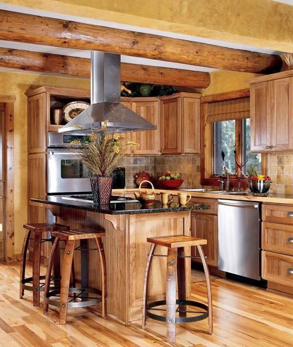 Modelo de armário de madeira com encaixe para os eletrodomésticos