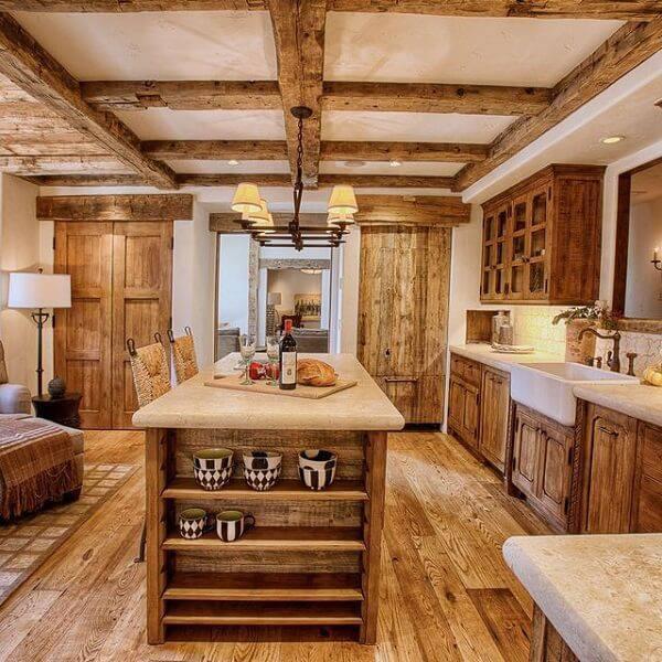 Modelo de armário de madeira para cozinha rústico