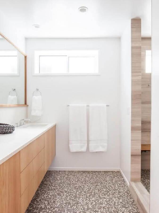 armário e espelho de madeira para banheiro branco decorado Foto Ideias Decor