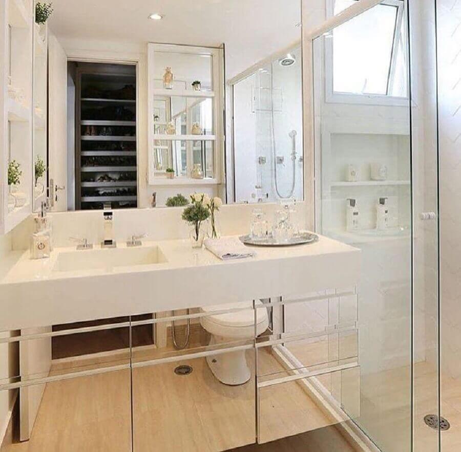 armário espelhado para banheiro branco pequeno Foto Monise Rosa