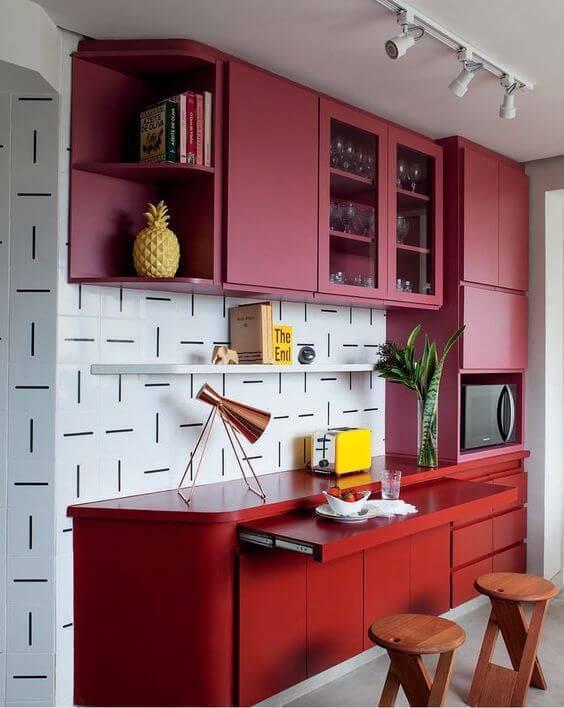 cozinha moderna na cor vermelha e rosa
