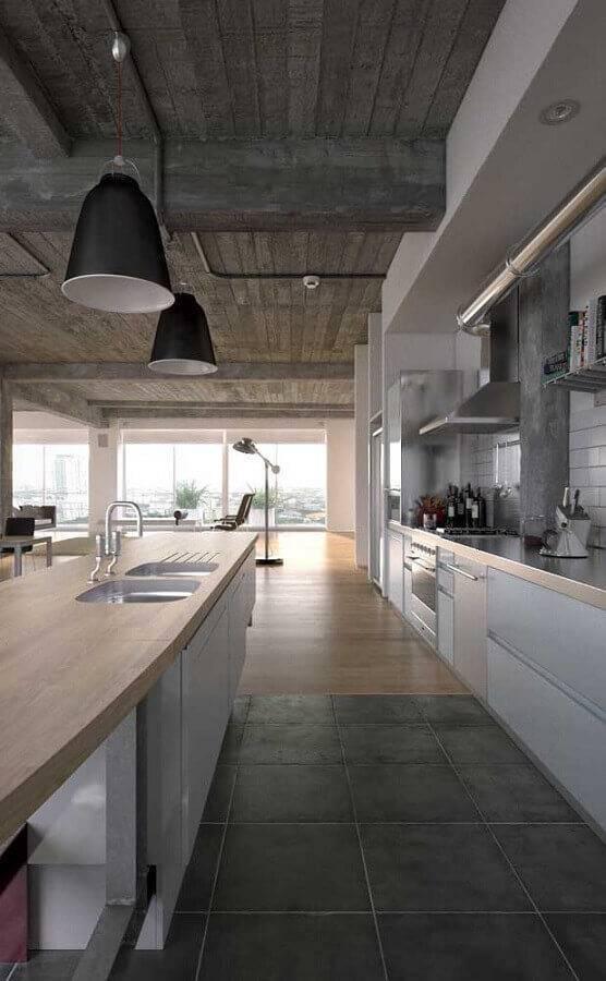 bancada de madeira e inox para cozinha grande planejada Foto Behance