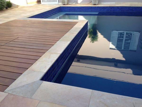 Borda para piscina com pedra são tomé