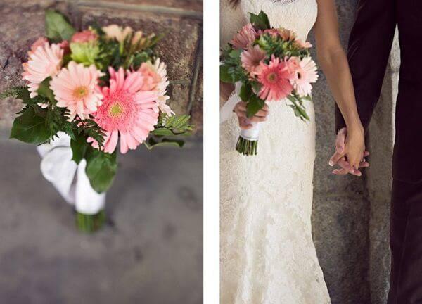 Buquê formado com delicadas flores de gérbera