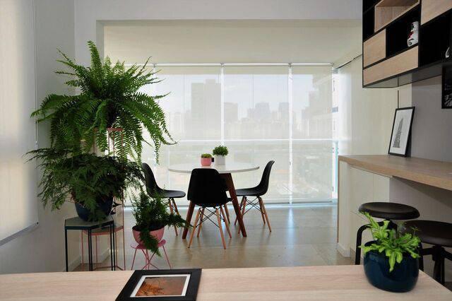 cadeira eames - ambiente com cadeiras eames portas e móveis claros