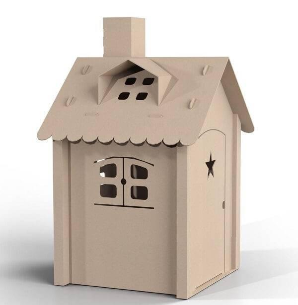Casinha de papelão infantil decora o quarto da criança