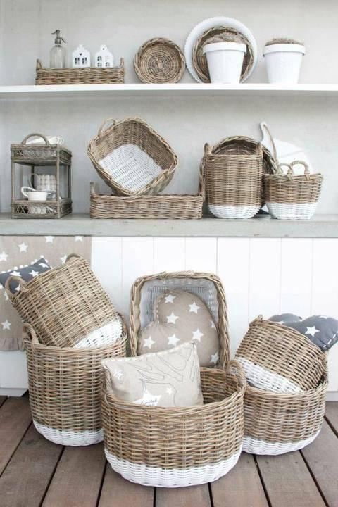 cesto organizador - casa com cestos de vime
