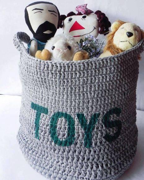 cesto organizador - cesto cinza de brinquedos
