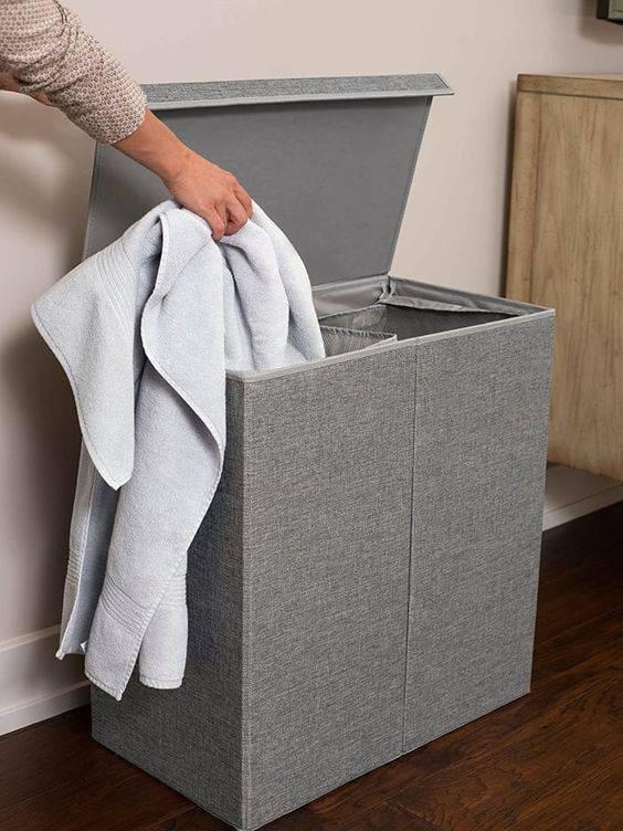 cesto organizador - cesto cinza de roupas