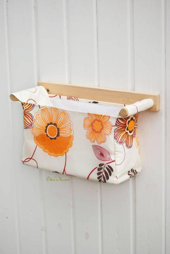 cesto organizador - cesto pequeno com flores
