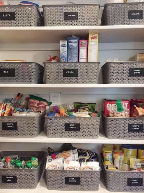 cesto organizador - dispensa com cestos