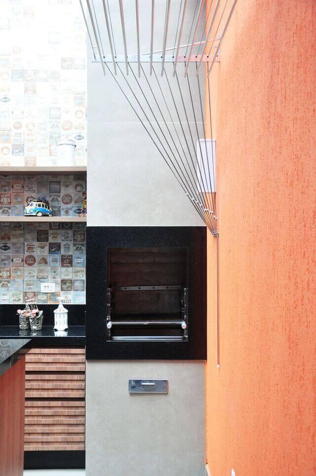 cor laranja - área de serviço laranja integrada à área gourmet