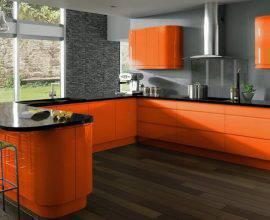 cor laranja - cozinha com armários laranjas - Architectures Ideas
