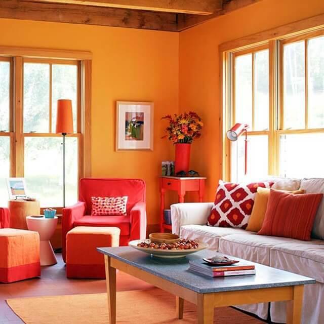 cor laranja - sala de estar laranja