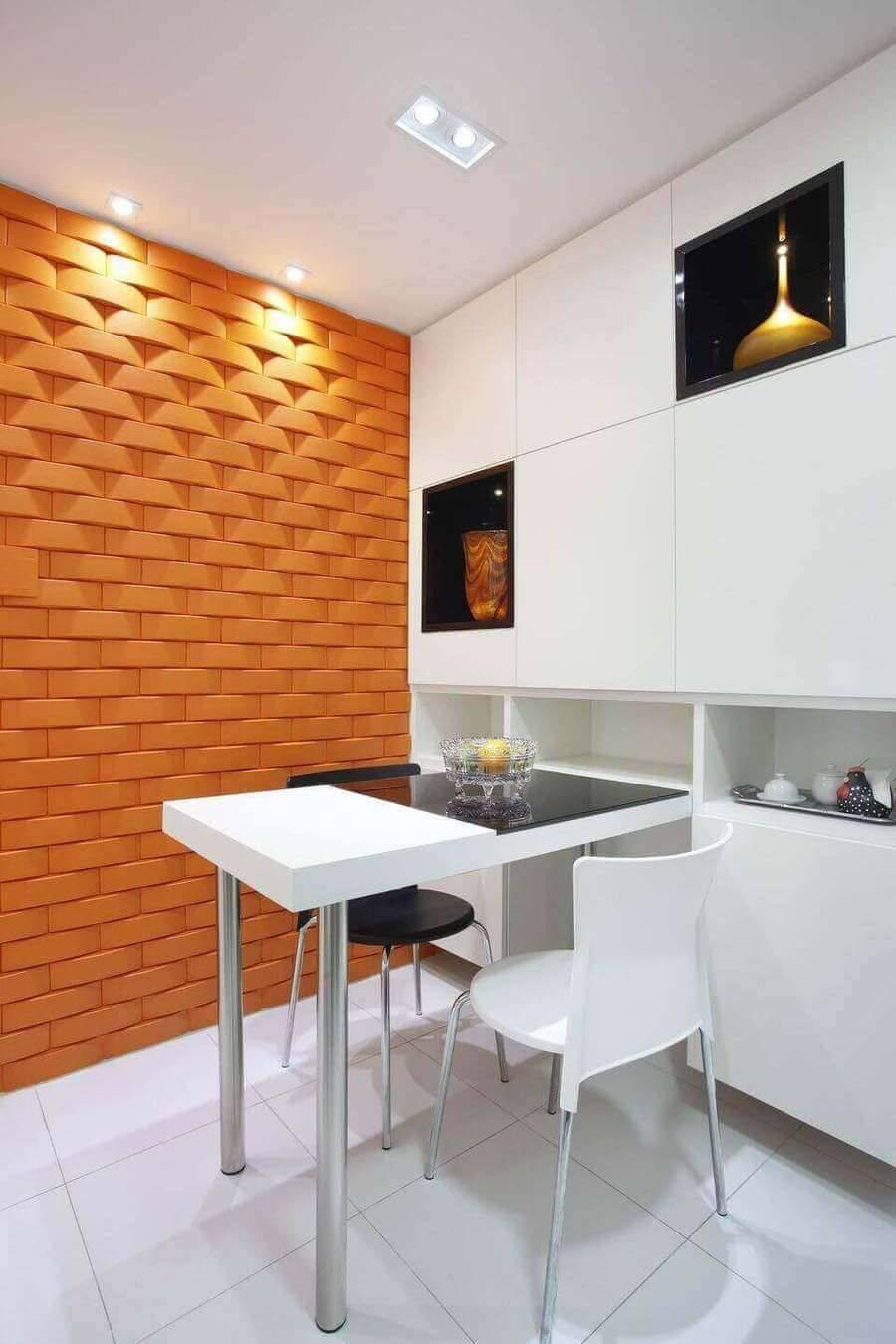 cor laranja - sala de jantar com parede laranja