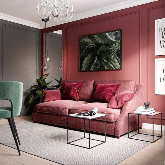 Cor vermelha para sala de estar