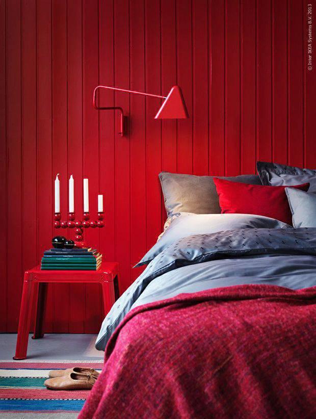 Cor vermelha para quarto moderno