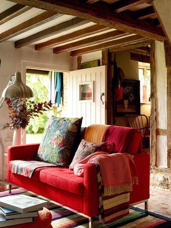Cor vermelha para sofá 2 lugares