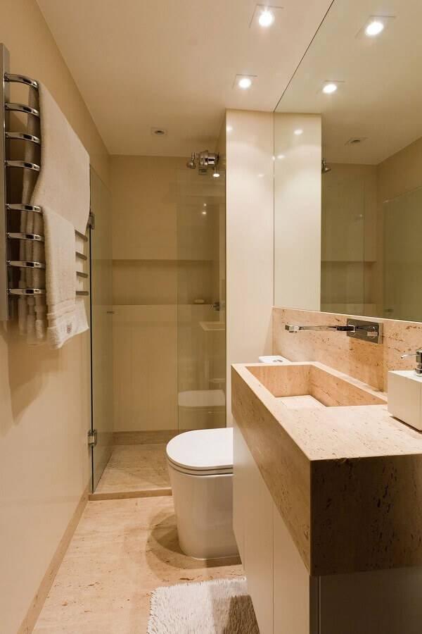 cores neutras para decoração de banheiro pequeno planejado Foto Plataforma Arquitectura
