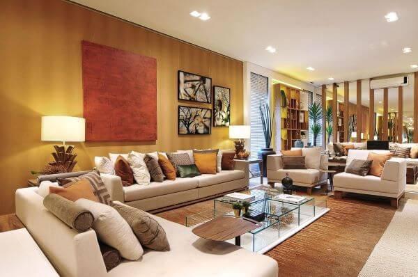 Cores neutras na decoração da sala de estar