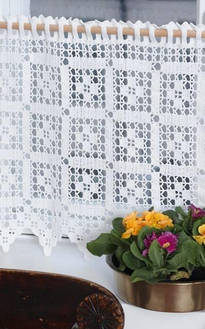 cortina de crochê - cortina branca com detalhes