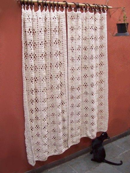 cortina de crochê - cortina branca simples