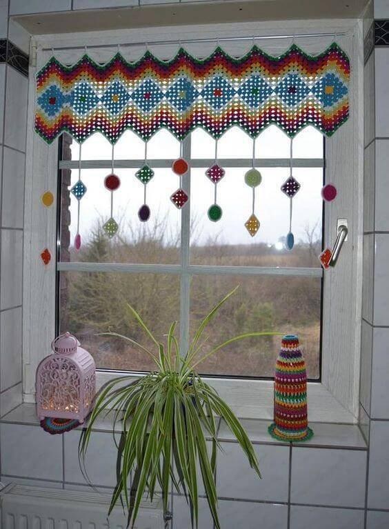cortina de crochê - cortina colorida pequena