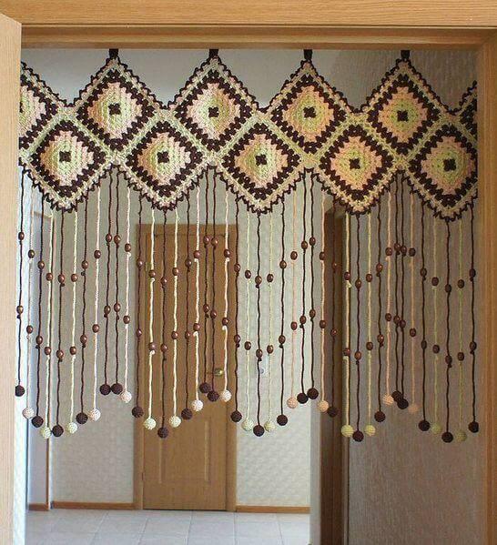 cortina de crochê - cortina com bolinhas