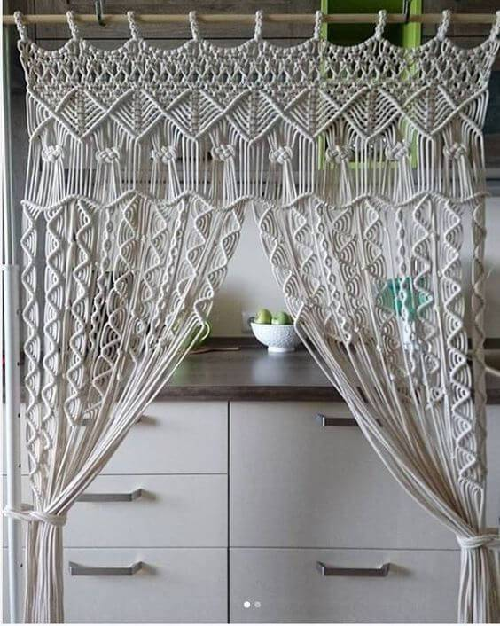 cortina de crochê - cortina com cordão