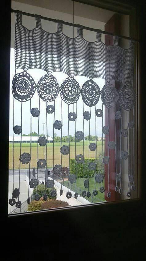 cortina de crochê - cortina com flores pequenas