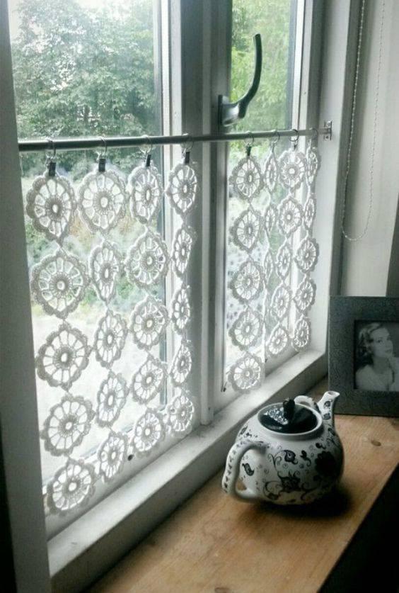 cortina de crochê - cortina com flores simples brancas
