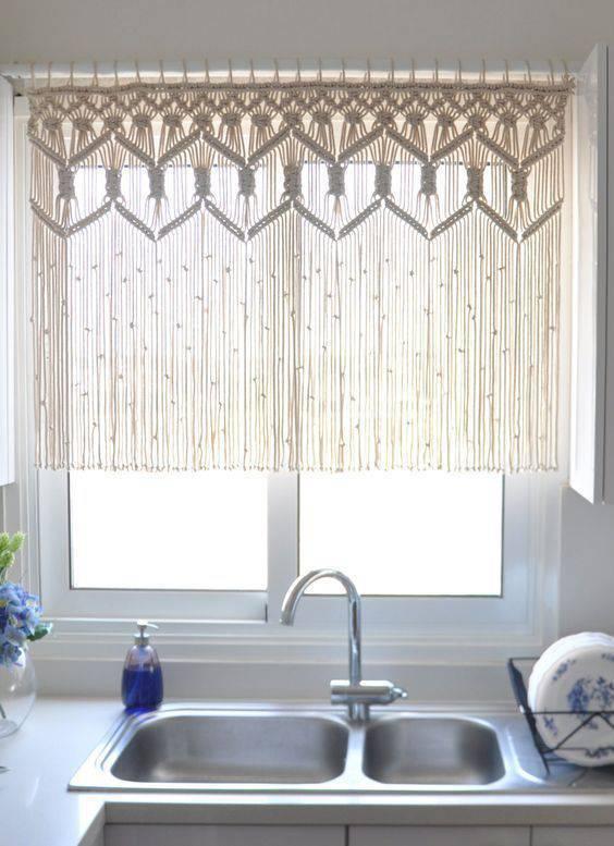 cortina de crochê - cortina com franja para cozinha