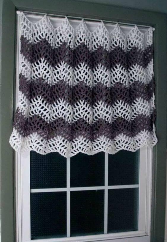 cortina de crochê - cortina com ondas